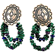 Native American Navajo Clip Earrings, Sterling Silver with Malachite Signed Delbert Delgarito
