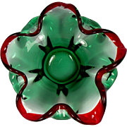 SOLD Pretty Red and Green Art Glass Bowl perfect for Christmas