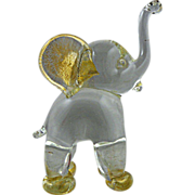 Archimede Seguso Murano Elephant Standing with Label