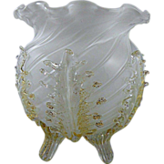 Venetian Glass Vase with Applied Leaves made in Style of Baroque Period