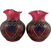 Pair Victorian Enameled Glass Vases probably Bohemian