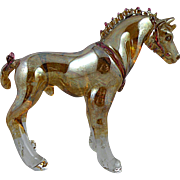 Model Glass Shire or Clydesdale Horse with Silvered Finish