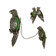 Mexican Silver & Green Stone Parrot Swag Brooch with Matching Earrings