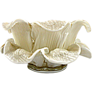 SOLD Fratelli Toso Murano White Floral Bowl made of Delicate Glass Petals