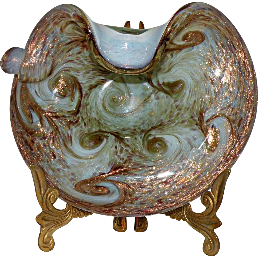 Fratelli Toso Murano Starry Night Bowl made of Opalino Glass with Label