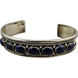 Navajo Bracelet Lapis Lazuli and Sterling Silver, Sally Yazzie Hallmark