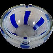 Barovier & Toso Opaline Blue Tessere Ashtray Bowl made in Murano 1950s