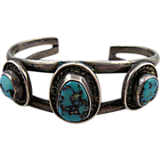 Vintage Native American Silver Cuff Bracelet with Turquoise for Smaller Wrist