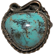 Old Domed Turquoise Sterling Silver Ring with Good Patina Size 5 1/2