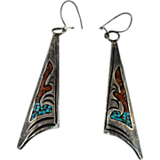Navajo Dangle Chip Inlay Earrings by Jimmie Nezzie with Turquoise and Coral