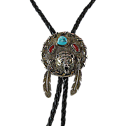 Silver Warrior Bear Bolo Tie with Turquoise and Coral