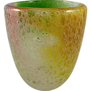 SOLD Small Pulegoso Art Glass Vase with Splashes of Color