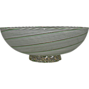 SOLD Dino Martens Filigrana Footed Bowl made for Aureliano Toso 1950s