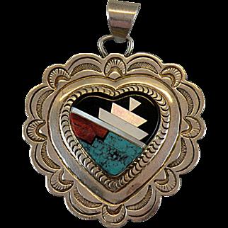 Navajo Sterling Silver Inlay Pendant with Jennie Blackgoat Hallmark