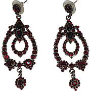 Ruby Red Crystal Dangle Earrings with Star Hallmark