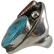 Heavy Silver Ring with Turquoise for Men Size 7 3/4
