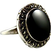 Theda Sterling Silver Onyx Ring with Sparkling Marcasite Halo Women Size 7