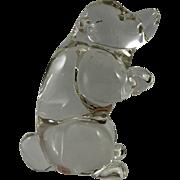 Murano Clear Glass Sitting Bear