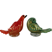 Vintage Murano Glass Birds in Red & Green dusted with Gold