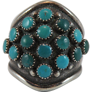 Zuni Turquoise Ring with Dave and Celia Nieto Hallmark, Size 8.75