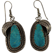 Impressive Navajo Turquoise Sterling Silver Earrings with PN Hallmark