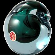 Murano Glass Teal Green Pigeon Bird Paperweight