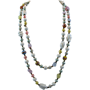 52-inch Colorful Glass Bead Necklace with Matching Clip Earrings