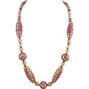 23-inch Pink Opaline Murrine Necklace made with Gold Foil