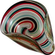 SOLD Mid-century Murano Ashtray Bowl with Colorful Swirls