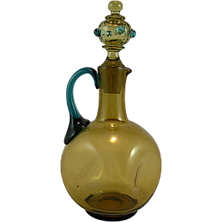Amber and Blue Cruet with Exceptional Topaz Stopper with Prunts