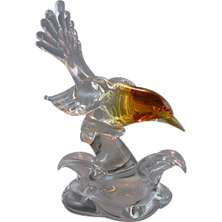 Seguso AV Amber Headed Bird Sculpture with Label