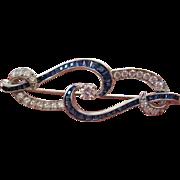-Exquisite vintage- Diamond- sapphire pin- set in Platinum-Deco