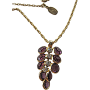 Cased stones with jewels- Hattie Carnegie signed- Pendant with Chain