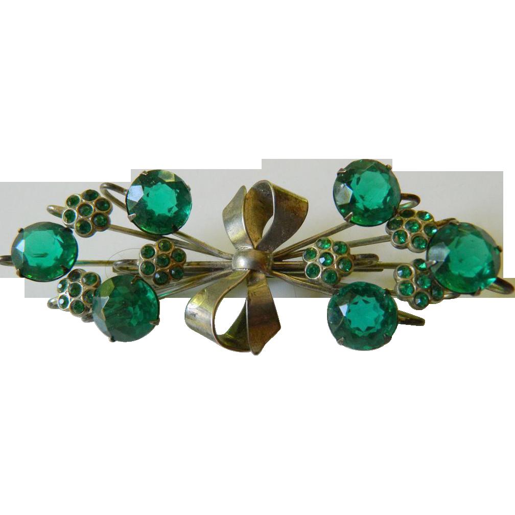 Large- elegant sterling pin- jeweled