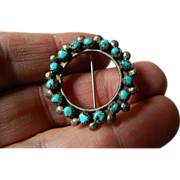 Native American made- Silver pin with beautiful turquoise stones