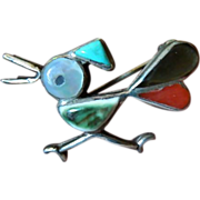 Silver Zuni- Roadrunner -Pin- coral- Mop and Turquoise
