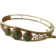signed- Van Dell open work gold filled- Jade stone Bracelet