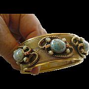 Large brass-1950's-hinge bracelet- Glass stone accent