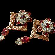 SALE 1950's- Dangling- glass stones-Earrings