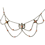 SALE 1800's- Victorian festooned- and Coral necklace