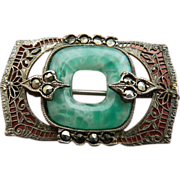 Vintage peking glass and silver With marcasite-Pin