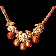 SALE signed- Napier- moon-glow acorn-Necklace