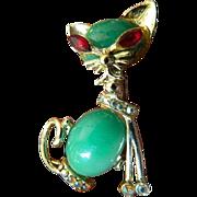 Stone set- Beautiful cat Pin
