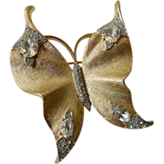 signed-Trifari-jeweled Butterfly pin