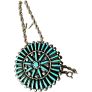 signed- Zuni silver and Turquoise pendant/pin with Chain