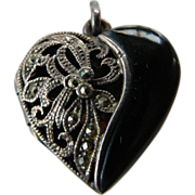 SALE Onyx- sterling with Marcasite- puffy Heart locket Pendant-SALE!