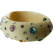 SALE Weiss clamper Bracelet-colorful glass Stones