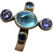 Sterling ring set With-Indian moonstone & amethyst
