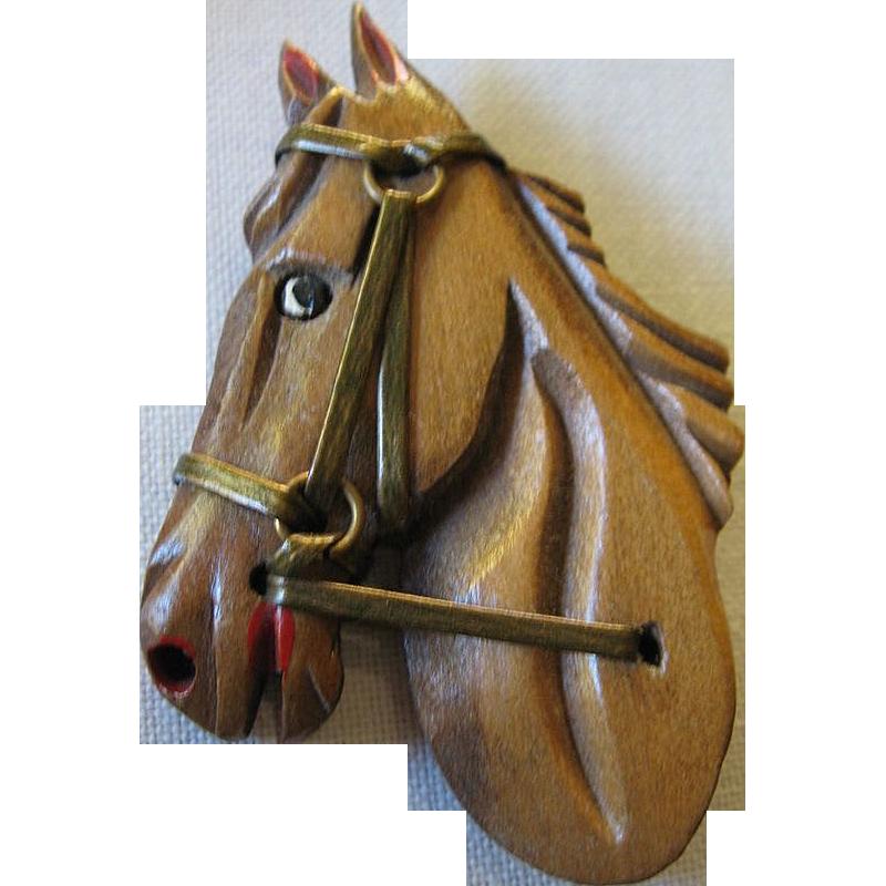 Carved- Folk art- Horse pin