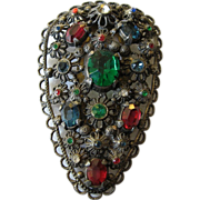 Wonderful vintage-open work pot metal dress clip- Jeweled